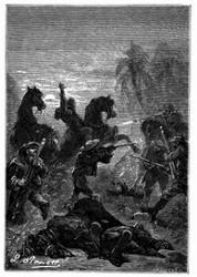 Die Soldaten, welche sich heldenmüthig wehrten. (S. 180.)