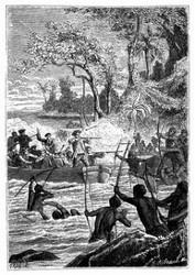 Einige Eingeborne schossen Pfeile ab. (S. 77.)