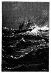 Eben traf ein entsetzlicher Windstoß das Schiff. (S. 125.)