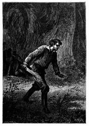 Dick Sand, das Jagdmesser in der Hand.... (S. 221.)
