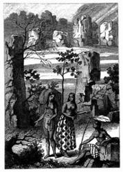 Alte Pfeiler-Ruinen zu Tinian. [Facsimile. Alter Kupferstich.]