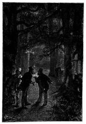 Alle Drei befanden sich inmitten einer Gruppe hoher Bäume. (S. 43.)