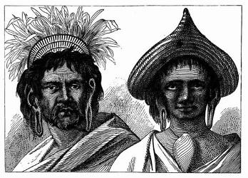 Mann und Frau der Osterinsel. [Facsimile. Alter Kupferstich.] (S. 199.)