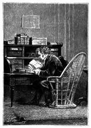 Sein Special-Alphabet in der Hand neben dem Document. (S. 283.)