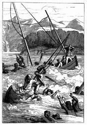 Schiffbruch im Hafen der Franzosen. [Facsimile. Alter Kupferstich.] (S. 310.)