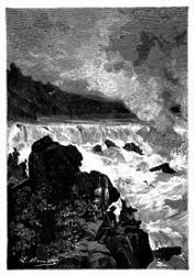 Er sah den Missouri in einem einzigen Schwalle herabstürzen. (S. 83.)