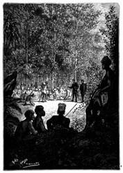 Zwei Häuptlinge nahmen die Reisenden bei der Hand. (S. 333.)