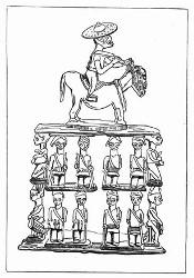 Viereck-Stuhl des Sultans von Bornu. [Facsimile. Alter Kupferstich.]