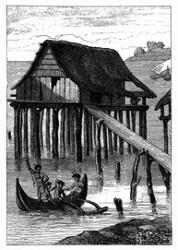 Haus im Hafen von Doreï (Neu-Guinea). [Facsimile. Alter Kupferstich.]