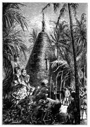 Das sehr hohe Dach derselben lief oben in eine scharfe Spitze aus. (S. 215.)