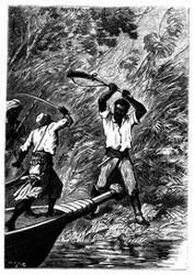 Der Riese gebrauchte seine verkehrt gefaßte Flinte als Keule. (S. 298.)
