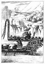 Neuseeländische Kriegs-Pirogue. [Facsimile. Alter Kupferstich.]