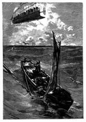 Man sah einen der Schiffbrüchigen sich aufrichten. (S. 164.)