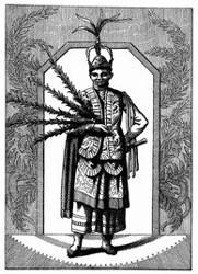Tanzmeister von Montezuma, Insel Guani. [Facsimile. Alter Kupferstich.]