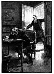 Dimitri Nicolef, den Kopf in den Händen, saß an seinem Arbeitstische. (S. 211.)