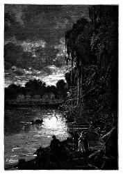 Die Jangada legte am Ufer an, um die Nacht über zu halten. (S. 157.)